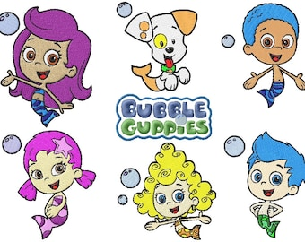 9 bubble guppie machine embroidery designs instant download