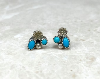 Sterling Turquoise, Silver Turquoise, Turquoise Earrings, Turquoise Posts, Turquoise Studs, Vintage Turquoise, Sterling Flowers, Blue Studs