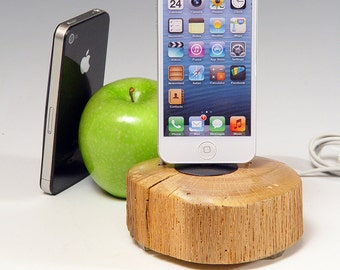 Docking charging station for ANY iPhone. Wood log iPod dock. Lathe turned. 454. Reclaimed log slice. Live edge. FAST shipping.