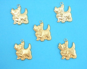 LOT 5 METALS CHARMS Gold: Westie 18 mm