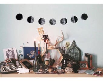 moon phases wall hanging, plain cardstock lunar garland, bunting, banner