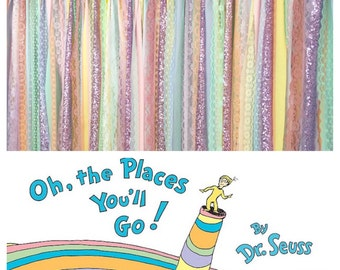 Seuss inspired Places You will Go Sparkle Sequin Fabric Backdrop - Birthday Garland, Photo Prop, Cake Smash, Curtain, Baby Shower, Nursery
