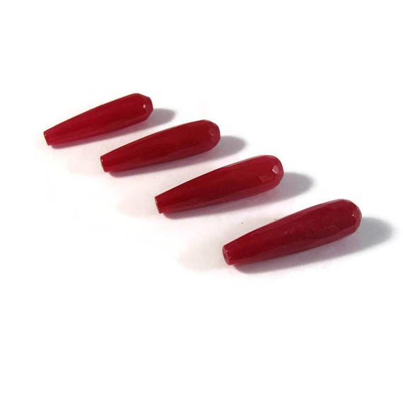 Four Ruby Red Quartzite Beads, 4 Long Drilled Drop Beads, Gemstones, Jewelry Supplies, 36mm x 9mm (PT-Ja2)