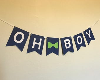 Navy and Green Oh Boy Banner - Baby Shower Banner - Blue Baby Shower Decorations - Oh Boy Baby Shower Decorations - Little Man Decorations