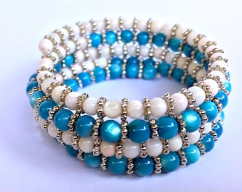 Blue & White Glass Bead Memory Wire Bracelet