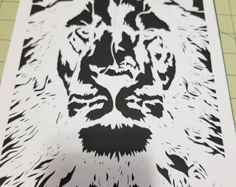 Lion, papercut, decoration, decor, wall art, paper art, lion papercut, lion, jungle, king of the jungle, king, home decor