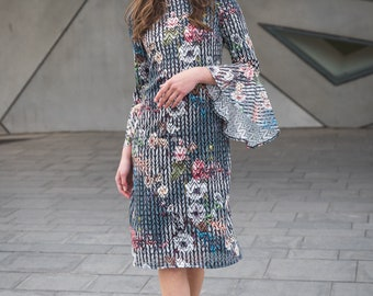 The Rosa - Lace, Multi color, Bell sleeve, swing, dress
