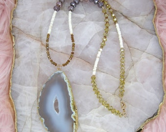 Yellow and Brown Necklace | Brown Necklace | Neutral Necklace | Cream Necklace | Agate Necklace