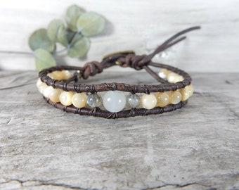 Desert Bracelet. Moonstone Bracelet. Desert Moon Jewelry. Minimalist Bracelet. Simple Bracelet. Leather Wrap Jewelry. Beige Stone. Neutral