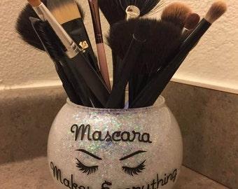 Makeup Brush Holder| Glitter Brush Holder| Vanity Organizer| Mascara Makes Everything Better