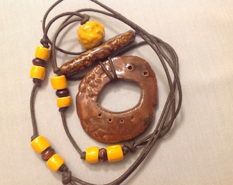 Handmade Brown Ceramic Pendant Adjustable Necklace with Fair Trade Peruvian Beads