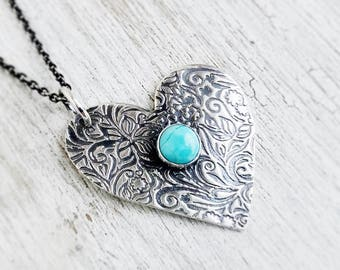 Turquoise Heart Necklace, Turquiose Jewelry, blue Heart Necklace, Silver Heart Jewelry, Turquoise Necklace for Women, Cowgirl Jewelry