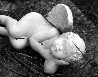Concrete Soul, 4x6, 5x7, 8x10, black and white photography, home decor, angel, heavenly art, garden angel, outdoors, nature photography