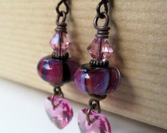 Hearts - Pink and Black Lampwork and Rose Crystals Beaded Niobium Earrings