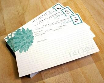 "50 Dahlia Flower Recipe Cards, 4""x6"", Personalized Recipe Cards, Customized Colors, Monogram Recipe, Blue Recipe Card, Bridal Shower Recipe"