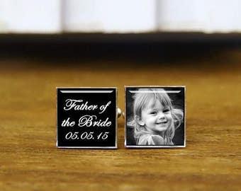 Father of the bride cufflinks, custom wedding cufflinks, personalized cuff links, custom date, photo, round, square cufflinks, tie clips