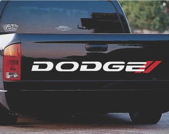 Dodge Bed Decal RAM RT 1500 2500 Mopar Trucks Dodge Dakota Tailgate Vinyl Graphics (SILVER)