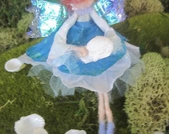 Seashell Nautical Felted Wool Fairy Ornament