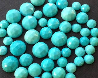 Turquoise 4mm Gemstone Cabochon Rose Cut FOR TWO