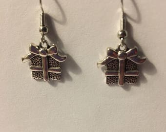 Antique Silver Christmas present earrings