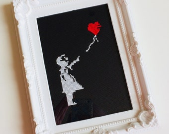 Banksy Style   Balloon Girl   Graffiti   Heart   Anniversary   Valentines   Love   Framed   Cross Stitch   Completed   Home   Gift