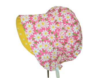 Baby Bonnet, Baby Sun Hat, Baby Sun Bonnet, Pink Floral Bonnet, Toddler Sun Hat, Baby Girl Bonnet, Summer Bonnet, Newborn Bonnet, Cotton