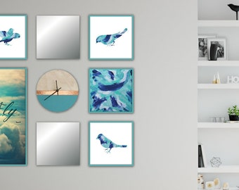 Abstract Art Prints, Set of 5, Instant Digital Download, Printable Abstract, Gallery Wall, Square, Home Decor, Blue Aqua, Acrylic on Canvas