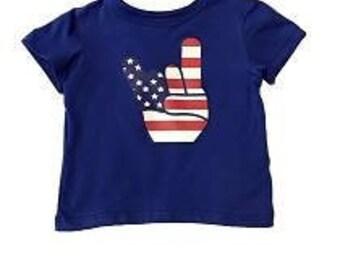 Blue tshirt american hand