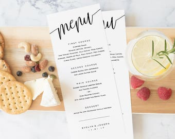 Wedding Menu Template, Printable Menu, Wedding Dinner Menu, DIY Menu Card Instant Download Editable PDF Elegant Modern Calligraphy #SPP013mn