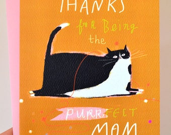Funny Cat Mom Card - Purrfect Mom - Mother's Day Card - Love You Mom Card
