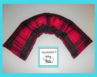 Heating Pad Microwavable Flax Seed Heat Pad, Rice Heating Pad, Neck Back Cramps, Relaxation Gifts, Red Black Plaid Flannel, Sunny Heat Packs