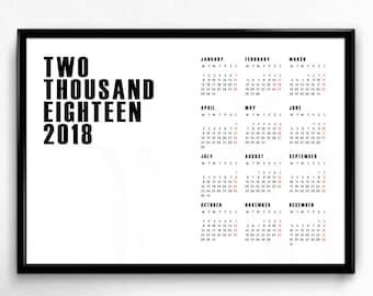 Printable 2018 Wall Calendar - large calendar, printable planner, academic calendar, wall calendar, A4, A3 and US letter