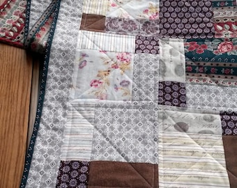 Beige, Neutral Quilted Table Runner, Fall, Autumn Table Runner, Brown, Beige, Green, Floral