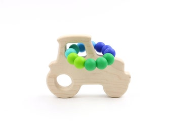 Organic Baby Teether - Tractor Shaped Baby Toy and Teether, Natural Baby Toy from Bannor Toys
