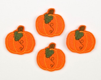 PRETTY PUMPKIN - Embroidered Felt Embellishments / Appliques - Orange  (Qnty of 4) SCF3040