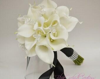 Real Touch Bouquet, Calla Lily Bouquet, White Bouquet, Bridal Bouquet, Real Touch Wedding Flowers, Wedding Bouquet, Tropical Bouquet