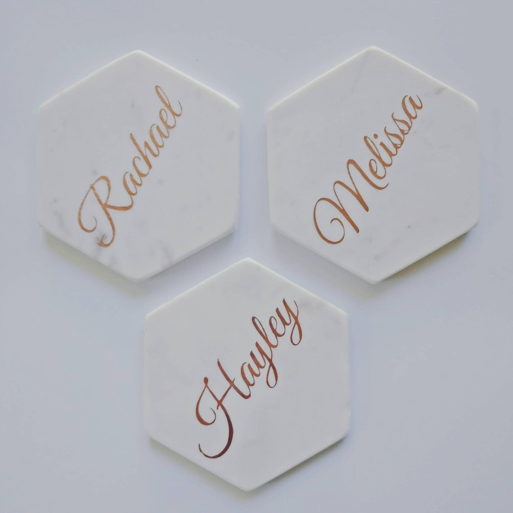 Personalised white stone hexagon coaster with foil vinyl writing ...