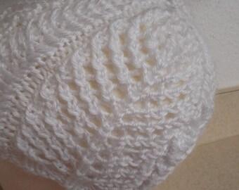 SNOW WHITE lace knit hat
