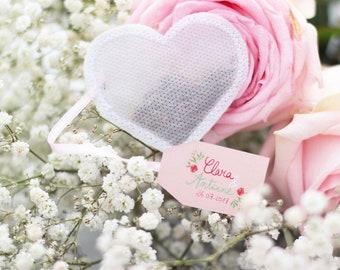 Wedding Favors Tea Bags -Heart Shaped- (50 pieces) -White-
