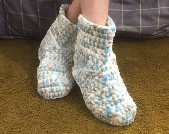 Slipper/Booties turqoise/taupe