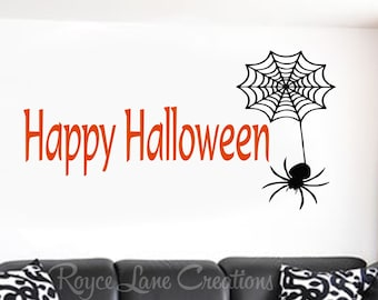 Halloween Decorations/Happy Halloween with Spider/Halloween Wall Decal/Halloween Decor/Halloween Door Decor/Halloween Decal/Halloween Vinyl