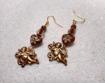 Valentine Earrings, Heart Earrings, Cupid Earrings, Valentine Jewelry, Heart Jewelry, Valentine's Day, Women's Earrings, Love Earrings, Love