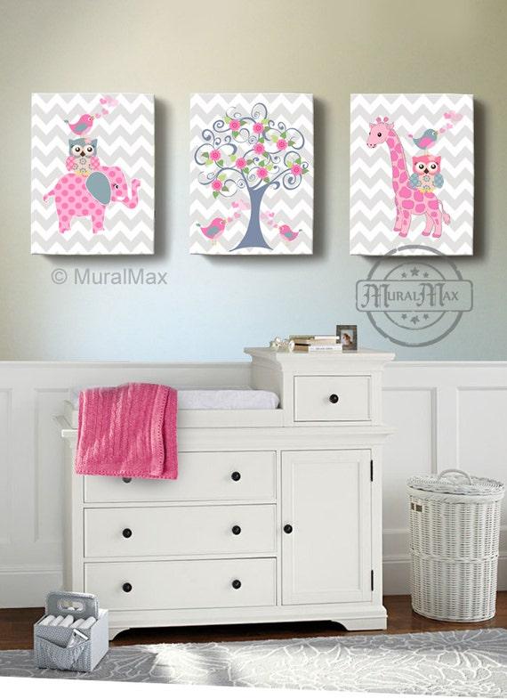 Owl Baby Bedroom Decor: Nursery Art Nursery Decor Elephant Giraffe Owl Birds