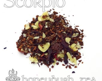 Scorpio Loose Leaf Tea - loose leaf honeybush tea, blackberry hazelnut, Zodiac sign Scorpio, astrology sign gift, birthday gift, dessert tea