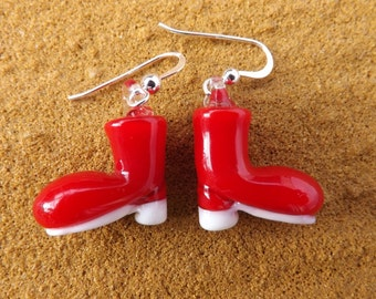 Christmas boot earrings, fun earrings, red boot earrings, santa earring, quirky earrings, Xmas boot earrings, festive earrings