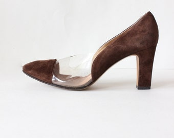 1950s Shoes / Vintage Evins Brown Suede & Clear Heels, size 7.5