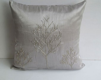 silver decorative pillow cover with silver tree 18 inch Custom made