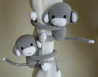 A pair of Light Gray Monkeys Curtain Tiebacks (Both side)    MADE TO ORDER..