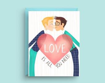 LGBTQ Valentine Card, LGBT Card, Gay Wedding Card, Gay Engagement Card, Gay Anniversary Card, Card for Gay Wedding, Card for Groom