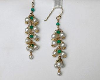 Lily of the Valley Freshwater Pearls and Green Onyx earrings